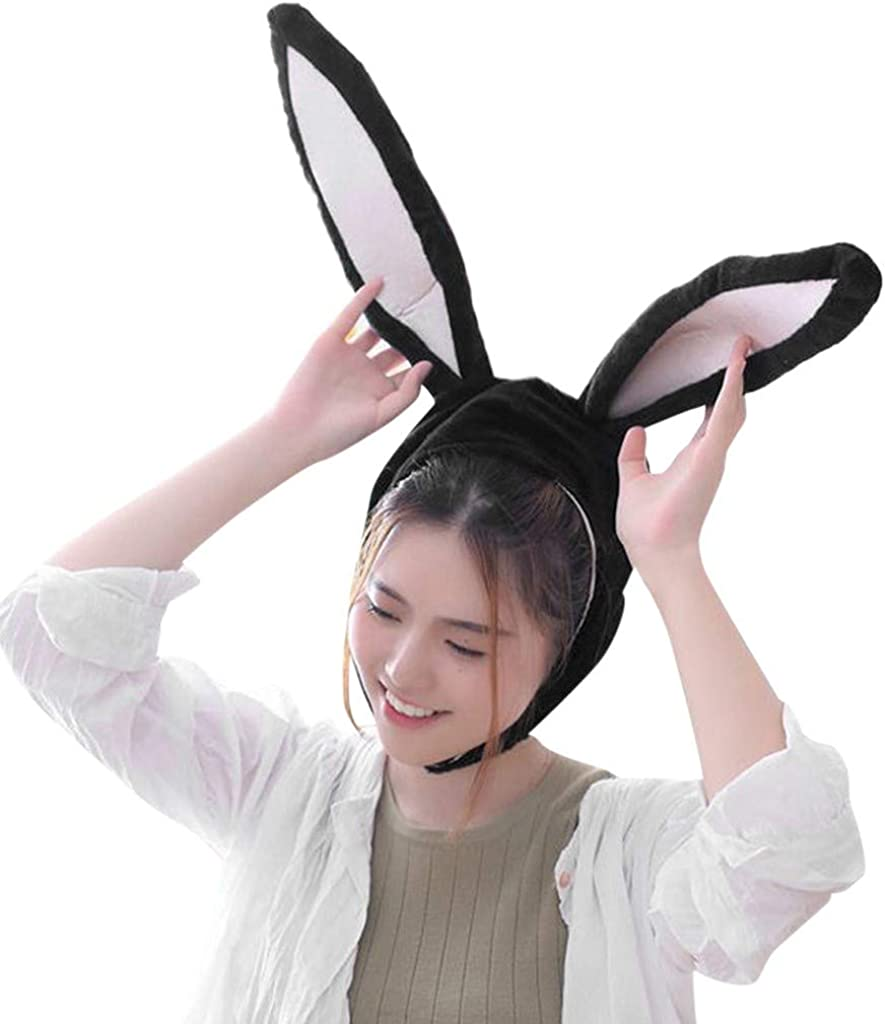 Soft and Cozy FEDULK Easter Cute Plush Fun Bunny Ears Hood Women Party Costume Hats Warm