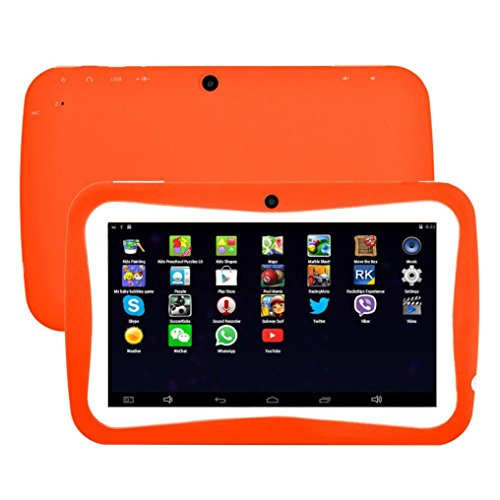 Kids Edition Tablet, 7'' HD Display, 8 GB, Kid-Proof Case, Android 4.4 Quad Core, 3D Game Supported (Orange) by Hometom