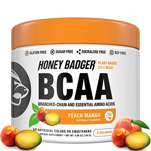 Honey Badger - Natural Keto BCAA - EAA, Electrolyte Powder, Essential Aminos, Amino Acids, Branched-Chain - Vegan, Plant-Based, Gluten Free, Sugar Free, Sucralose Free - 30 Servings, Peach Mango