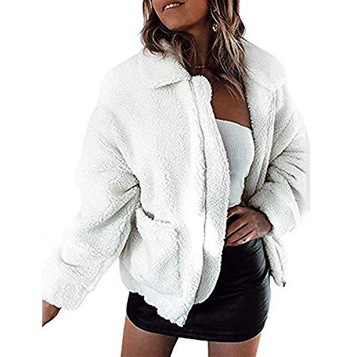 Women Coat Casual Lapel Fleece Fuzzy Faux Shearling Zipper Coats Warm Winter Oversized Outwear