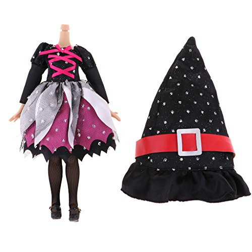 Homyl Dressy 1/6 Doll Halloween Witch Set & 19 Joints Nude Doll Halloween Dress Costume