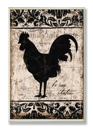 The Stupell Home Decor Collection Rooster Black and White Kitchen Wall Plaque (Black And White Rooster Decor)