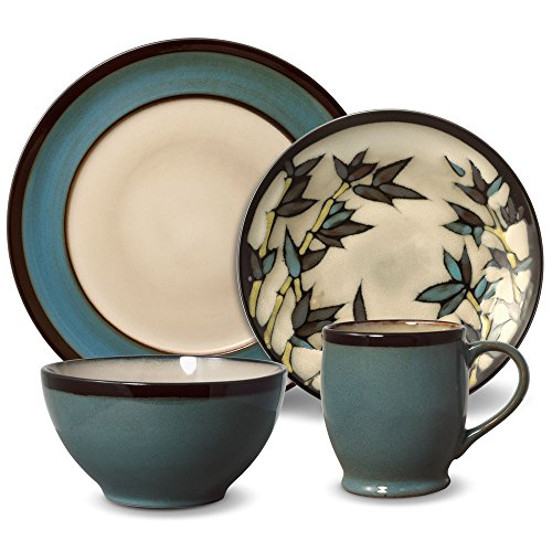 Gourmet Basics Belmont Round Blue Stalks Dinnerware Set (48 Piece)