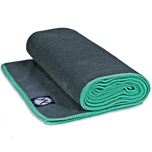 Youphoria 24-Inch-by-72-Inch Microfiber Yoga Towel, Gray Towel/Mint Green Stitching