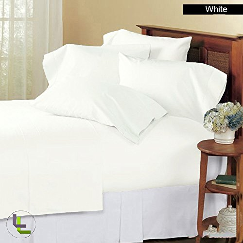 Floris Fashion High Quality Queen 1000TC 100% Egyptian Cotton White Solid Superb Finish 6PCs Sheet Set Solid(Pocket Size: 25 inches)