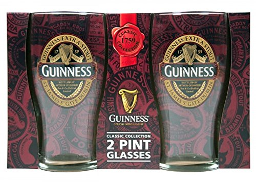 Guinness Red Collection Pint Glasses, 20 ounce, Set of 2 - Beer Glass for Bar and Kitchen - Stout Beer Guinness