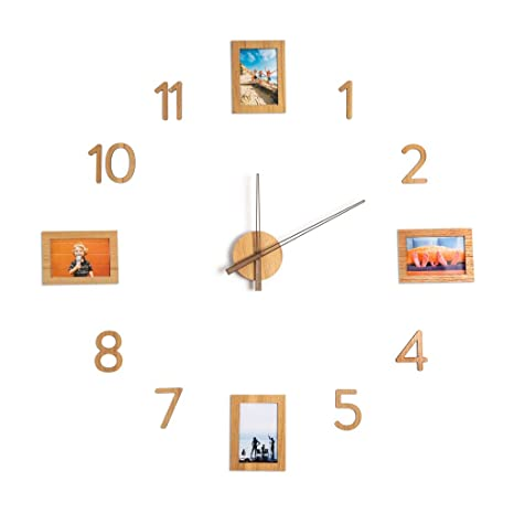 Balvi Reloj de Pared 4 Frames Color marrón con Adhesivos Movimiento silencioso 4 Marcos para Fotos