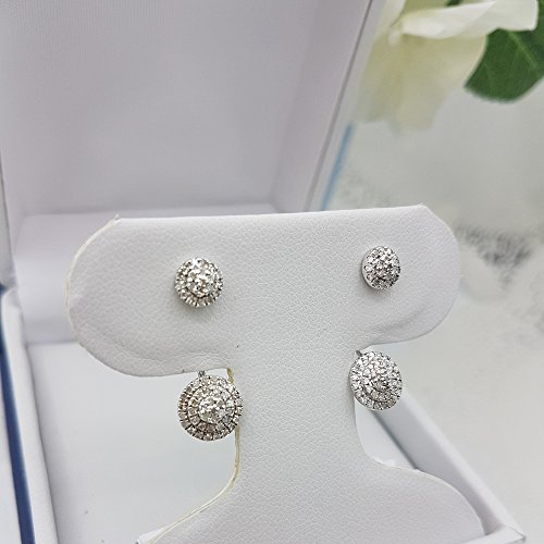 0.55 Carat (ctw) Sterling Silver Round White Diamond Ladies Stud Earrings Jackets Set 1/2 CT by DazzlingRock Collection (Image #2)