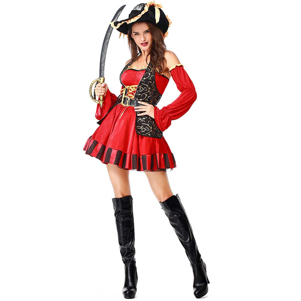 MYLEDI Halloween Adult Female Pirate Dress Kostüm - Hut + Kleid + Gürtel Kostüm,ROT,XXL