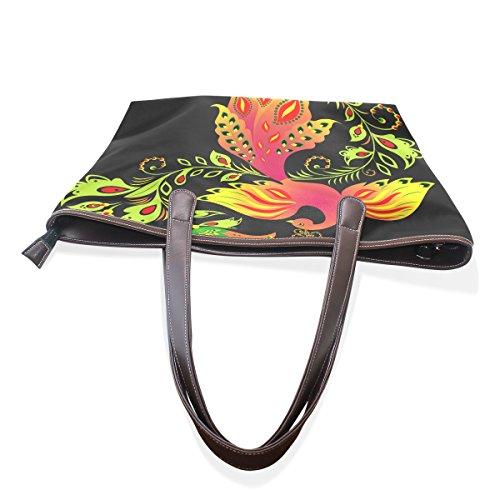 Handle Handbag Patern Women Bags Bird Ladies Shoulder Tote Colorful Flower Bennigiry Large Top 71xqOZ