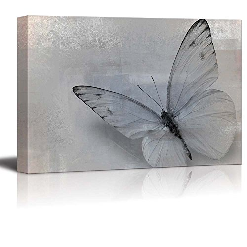 wall26 - Elegant Photo of a Single Butterfly in Gray and Black - Canvas Art Home Decor - 16x24 inches