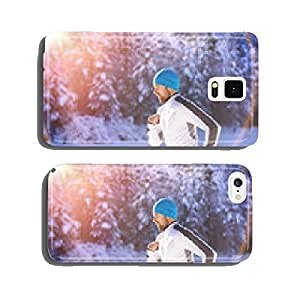 Man jogging in winter nature cell phone cover case Samsung S5
