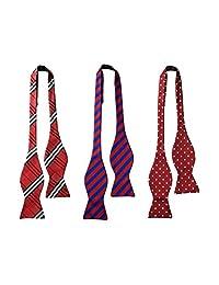Tiger Mama Mens 3pc longitud ajustable Self Tied Necktie Bow Ties-Juego de 3