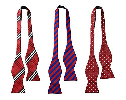 TIGER MAMA Mens 3pc Adjustable Length Self Tied Necktie Bow Ties (SET-03)