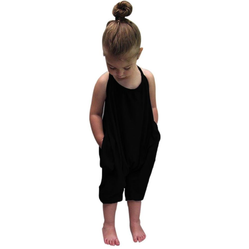 Baby Girls Straps Rompers, Kid 100% Cotton Jumpsuits Piece Harem Pants Clothing Clearance (2-3 Years Old, Black)