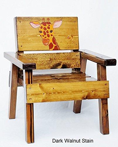Childrens Wood Jungle Safari Chair, Engraved & Painted Giraffe