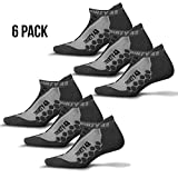 Thirty48 Running Socks Unisex CoolMax Fabric Keeps Feet Cool & Dry , 6 Pack Grey/Grey , Large
