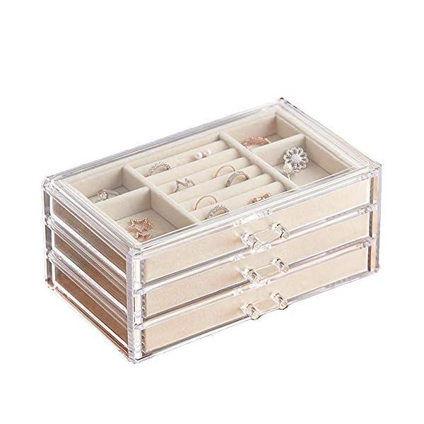 HerFav Jewelry Box for Women with 3 Drawers, Velvet Jewelry Organizer for Earring...