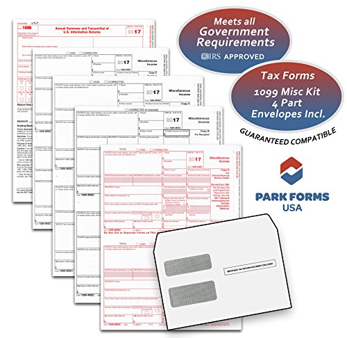 Park Forms 1099-MISC -4-part- Laser Income Set & Self-Seal Envelope Kit, for 25 Individuals - Order Order The The Or Process Proceed