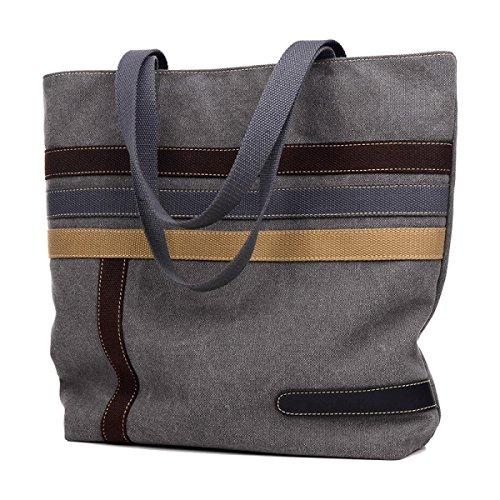 Frauen Jahrgang Leinwand Schulter Aktentasche Messenger Handtasche Riemen Multifunktions Tasche ,Grey-OneSize
