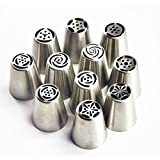 TANGCHU Russian Piping Tips Large Size Icing Syringe Set DIY Coupler Nozzle (11 PCS WITH BOX PACKING)