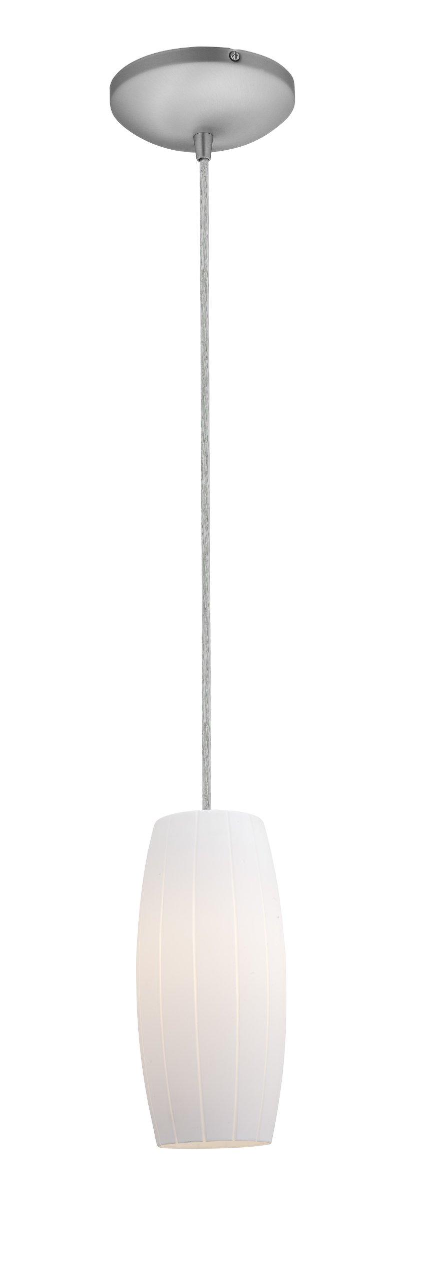 Cognac Glass Pendant - 1-Light Pendant - Cord - Brushed Steel Finish - White Glass Shade