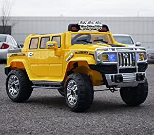 Hummer Style Yellow JJ255B Ride on Car for Kids 3-5 years old with Remote Control Ride On Toy, Ride ON Power Wheel, Led Lights