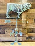 Hand Crafted BULLDOG WEATHERVANE Copper Patina Finish - Outdoors House or Outside Yard Accent