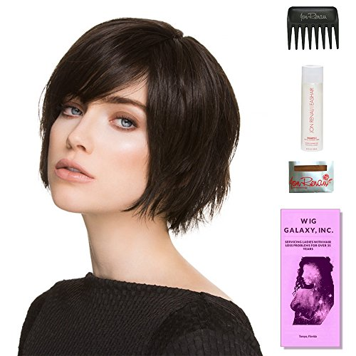 Echo by Ellen Wille, Wig Galaxy Hair Loss Booklet, 2oz Travel Size Wig Shampoo, Wig Cap, & Wide Tooth Comb (Bundle - 5 Items), Color Chosen: Chocolate Mix by Ellen Wille & Wig Galaxy
