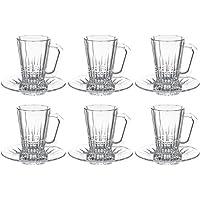 Luminarc Glass Elysees Tea Tumbler + Saucer, Clear