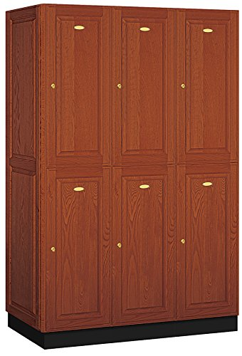 Salsbury Industries 2-Tier Solid Oak Executive Wood Locker with Three Wide Storage Units, 6-Feet High by 21-Inch Deep, Medium Oak by Salsbury Industries (Image #1)