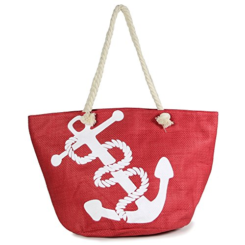 - Me Plus Anchor Print Large Beach Tote Shopping Bag Zipper Closure Strong Handles with Inner Pocket (Big Anchor-Red)