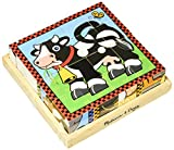Melissa & Doug Farm Wooden Cube Puzzle With Storage Tray - 6 Puzzles in 1 (16 pcs)