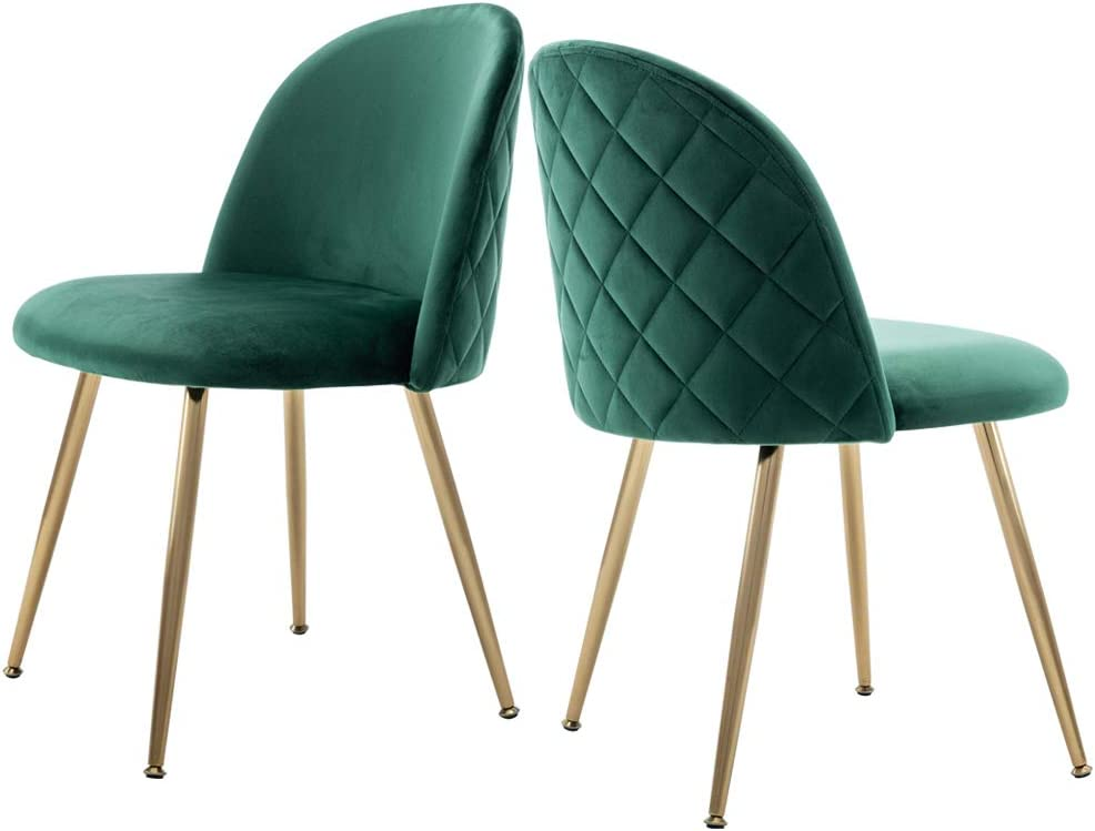 Modern Velvet Guest Chairs, Tufted Accent Upholstered Chairs with Gold Plating Metal Legs for Living Room Kitchen Vanity Patio, Set of 2 Emerald Green