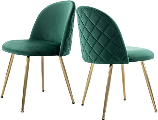 Modern Velvet Guest Chairs, Tufted Accent Upholstered Chairs with Gold  Plating Metal Legs for Living Room/Kitchen/Vanity/Patio, Set of 2 (Emerald  ...