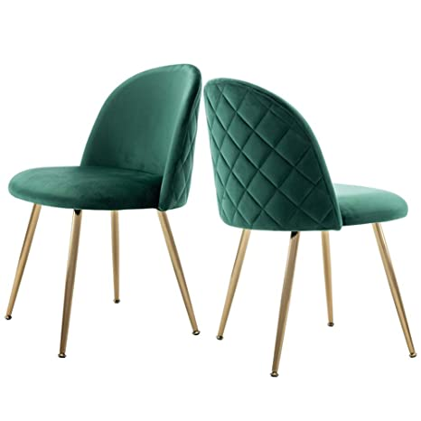Wondrous Modern Velvet Guest Chairs Tufted Accent Upholstered Chairs With Gold Plating Metal Legs For Living Room Kitchen Vanity Patio Set Of 2 Emerald Spiritservingveterans Wood Chair Design Ideas Spiritservingveteransorg