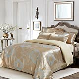 6 Piece King, Luxurious Classic Abstract Pattern Duvet Cover Set, Contemporary Modern Radiant Damask Design, Elegant Geometrical Themed, Antique Reversible Bedding, Adorable Gold, Ivory Color Unisex