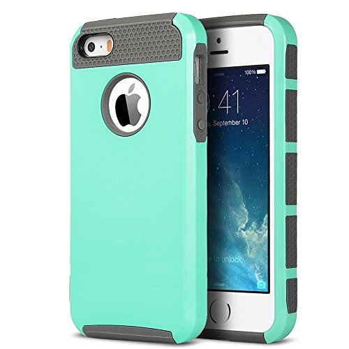 iPhone 5S Case, iPhone 5 Case,iPhone SE Case,ULAK Slim Fit Protection Case Shockproof Hard Rugged Ultra Protective Back Rubber Cover with Dual Layer Impact Protection(Mint+Gray)