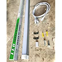 "1-Pack 48"" LED Tube Daylight 4-foot Long Integrated T8 LED Tube Light Fixture - 6500K - 24W LED (=180 Watt) with US Plug and Linkable Connection"