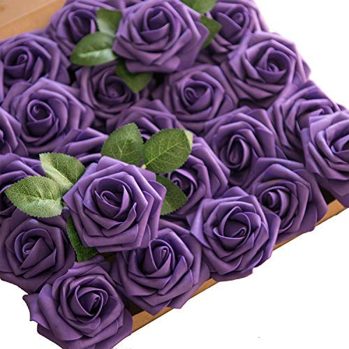 Lings moment Artificial Flowers 50pcs Real Looking Cadbury Purple Fake Roses w/Stem for DIY Wedding Bouquets Centerpieces Bridal Shower Party Home Decorations
