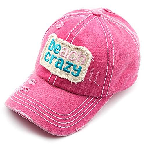 (C.C Exclusives Hatsandscarf Washed Distressed Cotton Denim Ponytail Hat Adjustable Baseball Cap (BT-761) (Hot Pink, Beach Crazy))