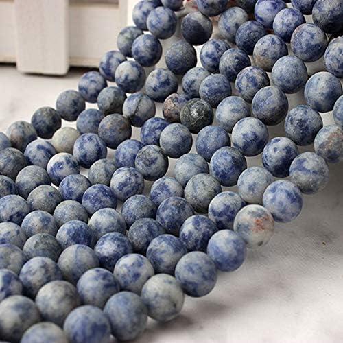 Gendaje Cuentas Sueltas de Piedra de Venas Azules Mate Azul Natural 6 8 10 12 Mm Adecuado para Hombres y Mujeres Accesorios de Collar de Pulsera Blue-Veins Stone 6mm 63beads