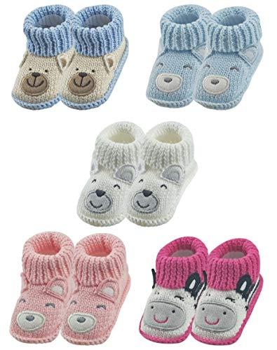 RATIVE Handmade Baby Booties Crochet for Unisex Newborn Boy Girl (Newborn 0-3 Months, 5-Pairs/Assorted Girl)
