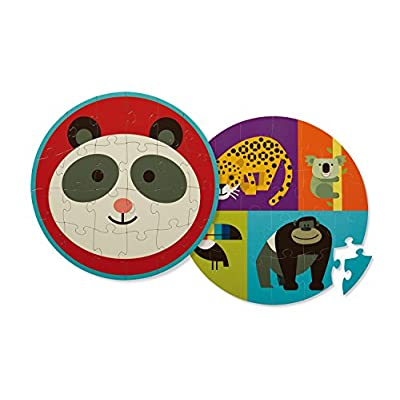 Crocodile Creek 4130-3 Two-Sided Panda Jungle Round Puzzle (24 Piece), Red/Blue/Purple/Orange/Yellow: Toys & Games