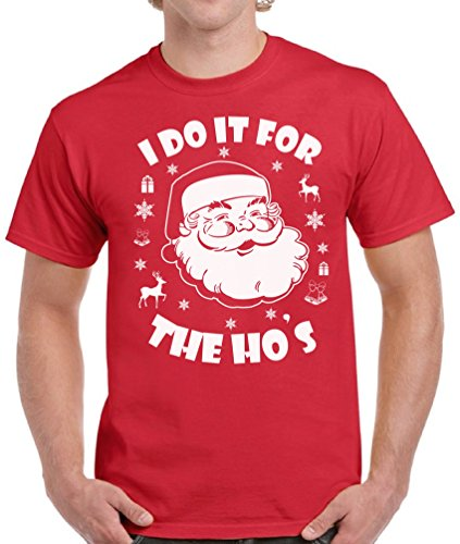 Ugly Christmas Sweater co I Do It for The Ho's Santa Shirt Men's Ugly Xmas Tshirt Red -