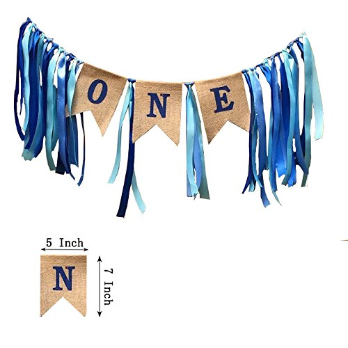 1st Birthday DecorationsBaby Boys First BannerBurlap Highchair Banner For