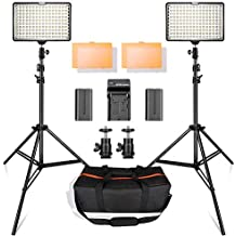 LED Video Light Kit with 2M Light Stand, SAMTIAN 2-Pack Dimmable 3200K/5500K 160 LED Photo Light Panel Lighting Kit with Large Carry Case Charger Batteries for YouTube Studio Photography Shooting