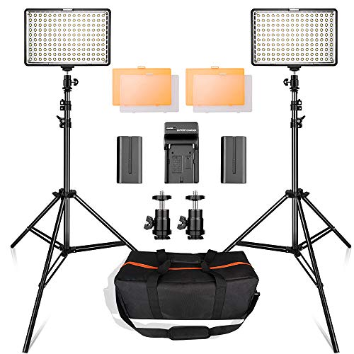 (LED Video Light Kit with 2M Light Stand, SAMTIAN 2-Pack Dimmable 3200K 5500K 160 LED Photo Light Panel Lighting Kit with Large Carry Case Charger Batteries for YouTube Studio Photography)