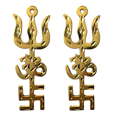 Divya Mantra Combo of Indian Traditional Trishul Om Swastika Yantra Spiritual Metal Wall Hanging Showpiece Ornament/Hindu Religious Trisakthi Vastu Pooja Item Collectible - Home Decor Gift (Wealth At The Bottom Of The Pyramid)