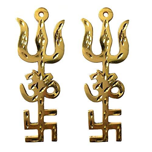 Divya Mantra Combo of Indian Traditional Trishul Om Swastika Yantra Spiritual Metal Wall Hanging Showpiece Ornament/Hindu Religious Trisakthi Vastu Pooja Item Collectible - Home Decor Gift